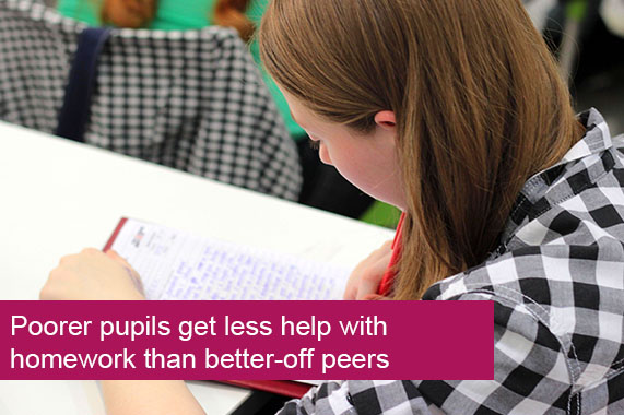 Poorer pupils get less help with homework than better-off peers